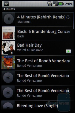 Stock Android music player - Motorola DEVOUR A555 Review