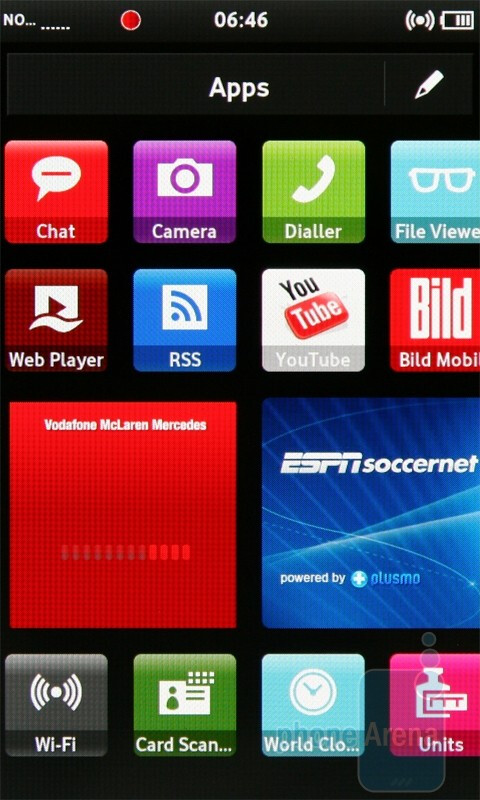The Apps screen of the Samsung H1 - Vodafone 360 Samsung H1 Review