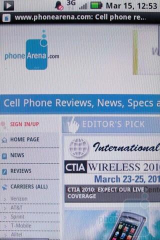 Browsing the internet - Motorola BACKFLIP Review