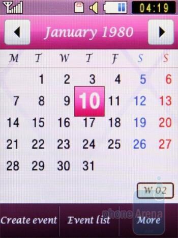 Calendar - Samsung Diva S7070 Review