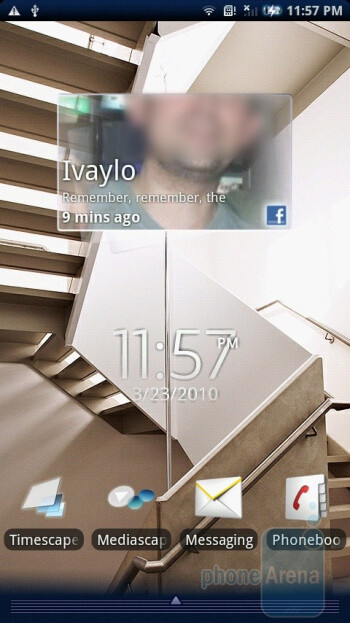 The home screens of the Sony Ericsson Xperia X10 are three - Sony Ericsson Xperia X10 Review