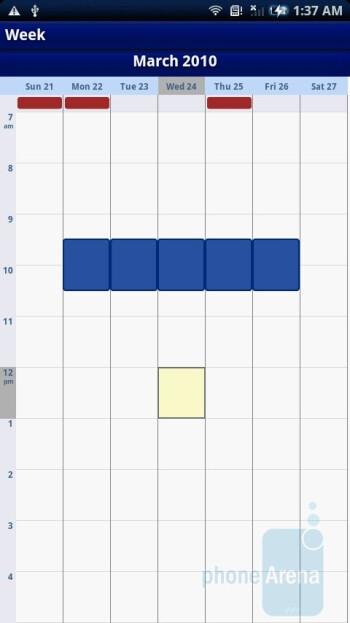 Calendar - Sony Ericsson Xperia X10 Review