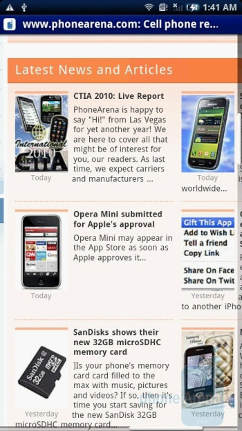 The default browser of the Sony Ericsson Xperia X10 is the standard application of Android - Sony Ericsson Xperia X10 Review