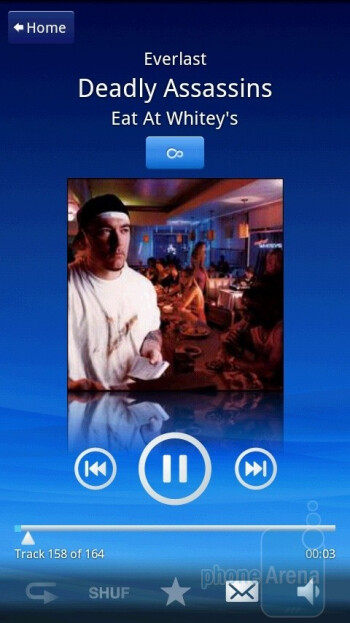 The audio player of the Sony Ericsson Xperia X10 - Sony Ericsson Xperia X10 Review