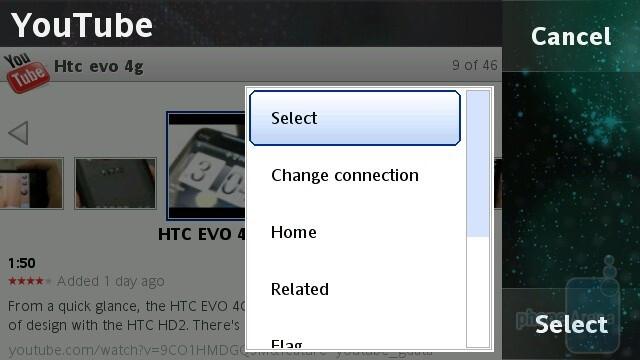 The YouTube app - Sony Ericsson Vivaz Review