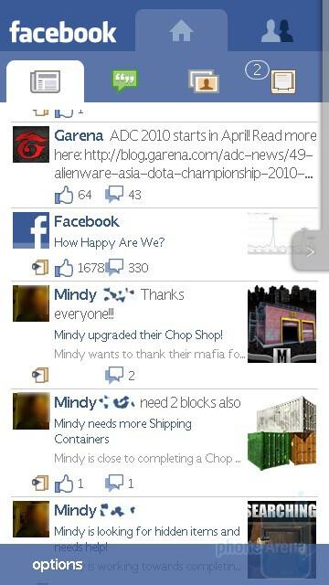 Facebook - Sony Ericsson Vivaz Review