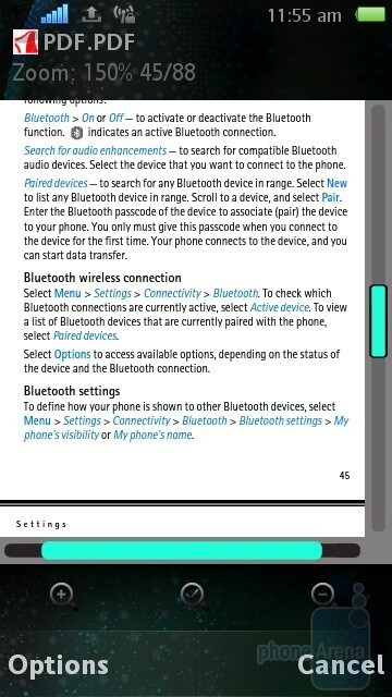 Working with Office documents and PDF files on the Sony Ericsson Vivaz - Sony Ericsson Vivaz Review
