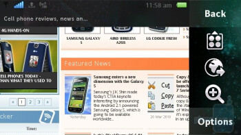The WebKit-based browser of the Sony Ericsson Vivaz - Sony Ericsson Vivaz Review