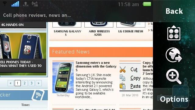The WebKit-based browser of the Sony Ericsson Vivaz - Sony Ericsson Vivaz Review