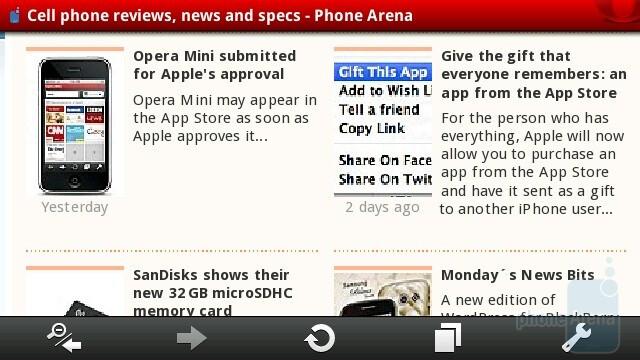 Opera Mobile 10 - Sony Ericsson Vivaz Review