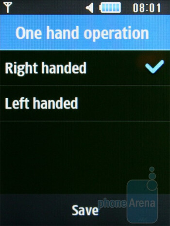 The phonebook interface has an option that changes the visualization modeto a new one that is better suited for left-handed people - Samsung Ch@t B3410W Review