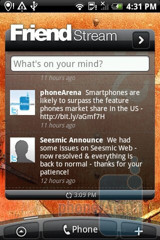 The widget FriendStream acts as a central depot for information coming from Facebook, Twitter and Flickr - HTC Legend Review
