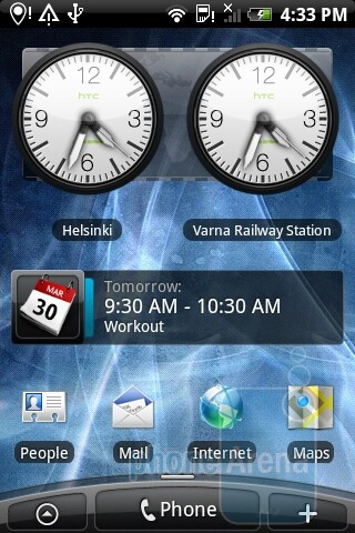"You have the option to customize the home screen (via themes called ""Scenes"") - HTC Legend Review"
