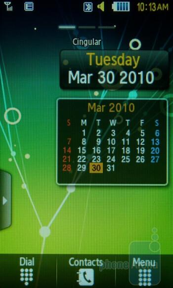 Home screen - Samsung Sunburst A697 Review