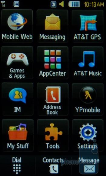 Main menu - Home screen - Samsung Sunburst A697 Review
