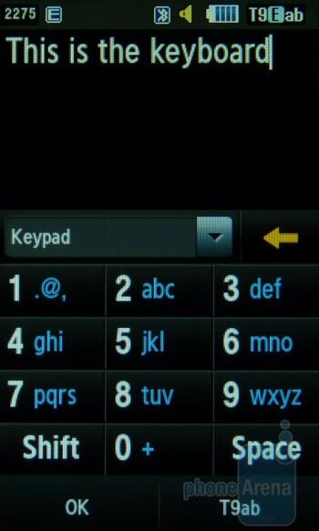 The onscreen keyboard of the Samsung Sunburst A697 - Samsung Sunburst A697 Review