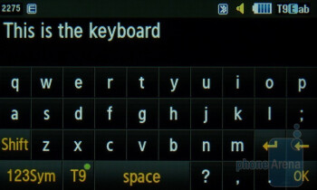 The onscreen keyboard of the Samsung Sunburst A697 - Samsung Sunburst A697 Review