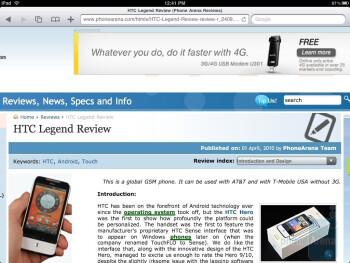 Web browsing with Mobile Safari - Motorola XOOM vs Apple iPad