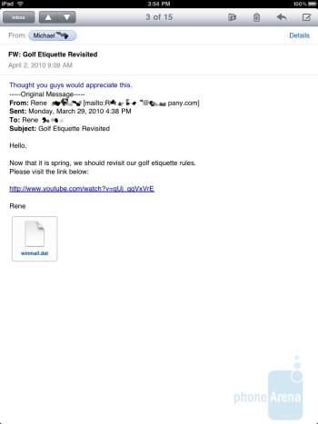 The e-mail app on the Apple iPad - Motorola XOOM vs Apple iPad