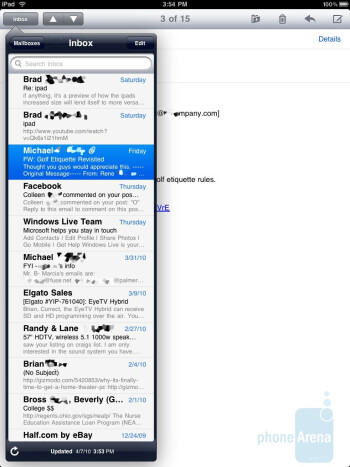 The e-mail app - Apple iPad Review