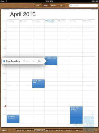 The calendar is very functional now - Apple iPad Review