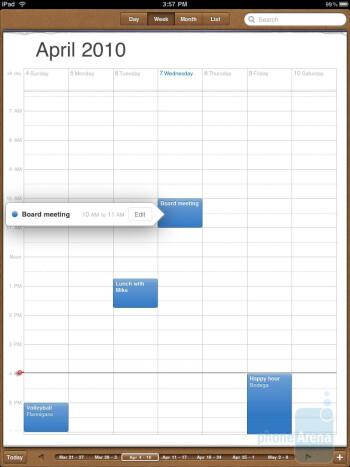 The calendar of the Apple iPad - Motorola XOOM vs Apple iPad