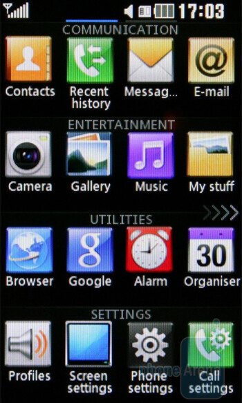 Main menu - The three home screen pages of the LG Cookie Gig KM570 - LG Cookie Gig KM570 Review