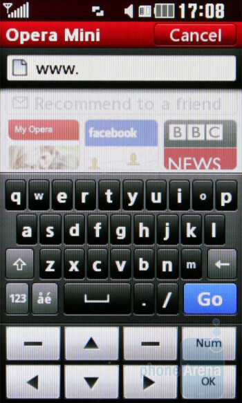 Opera Mini 5 - Web browsing - LG Cookie Gig KM570 Review