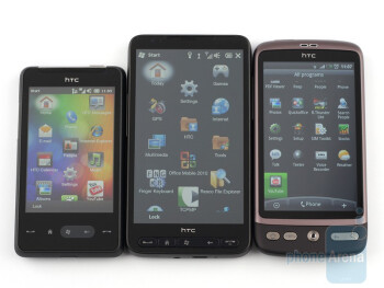 From left to right - HTC HD mini,HTC HD2, HTC  Desire - HTC Desire Review
