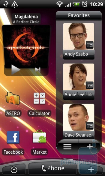 The home screen can host various widgets, shortcuts and folders - HTC Desire Review