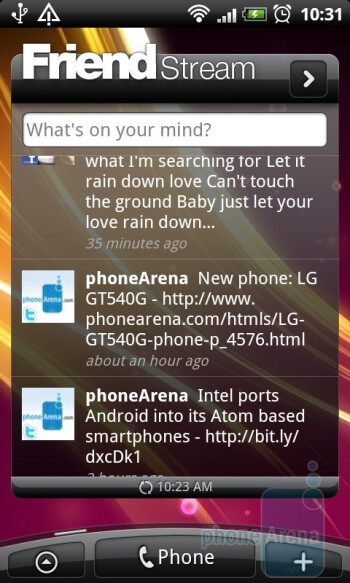FriendStream - The home screen can host various widgets, shortcuts and folders - HTC Desire Review