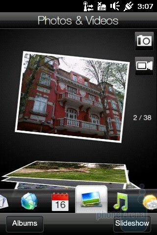 The homescreen of the HTC HD mini is divided into several tabs - HTC HD mini Review