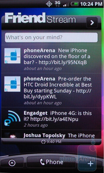 HTC Droid Incredible packs  the latest version of the Sense UI running on top of Android 2.1 - HTC Droid Incredible Review