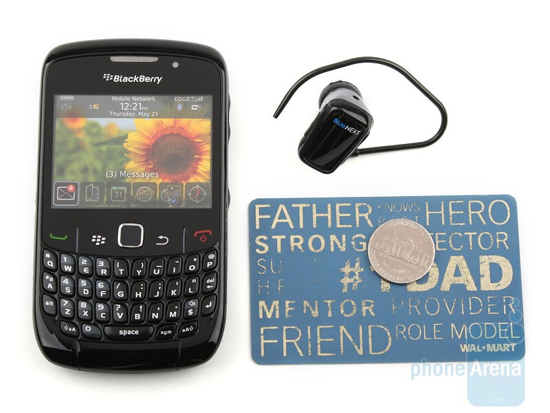 Next tothe RIM BlackBerry Curve 8520 - BlueNEXT BN888 is the size of a coin - BlueNEXT BN888 Review