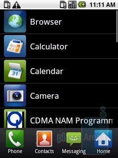 Main menu - Samsung Galaxy 5 I5500 Preview