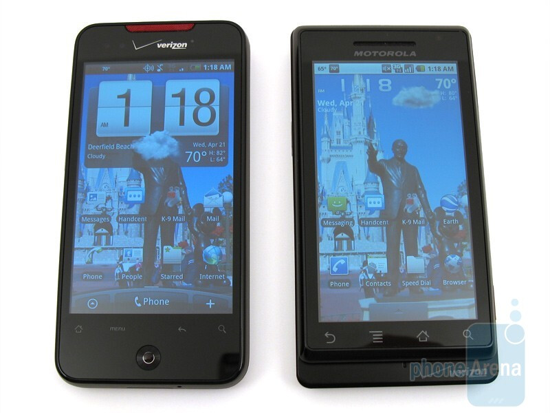 The HTC Droid Incredible (left) and the Motorola DROID (right) - Motorola DROID and HTC Droid Incredible: side by side