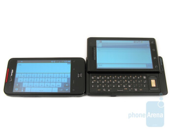 The QWERTY keyboards of the two devices - Motorola DROID and HTC Droid Incredible: side by side