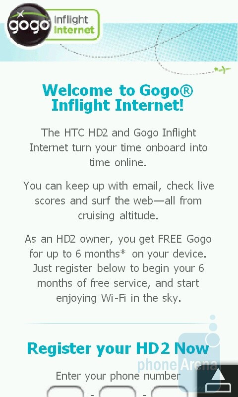 Gogo Inflight Internet service - HTC HD2 for T-Mobile Review