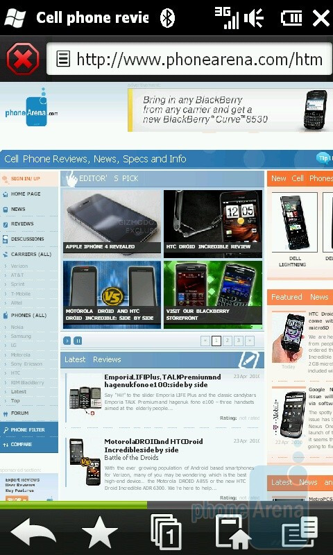 Web browsing with the HTC HD2 - HTC HD2 for T-Mobile Review