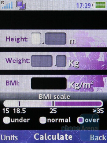 Personal body mass indexcalculator - Sony Ericsson Jalou Review