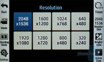 Camera interface - Samsung Reality U820 Review