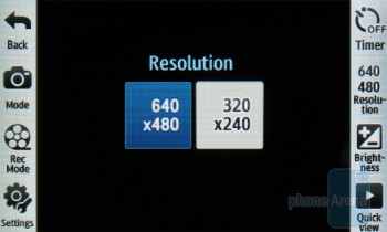 Camcorder - Camera interface - Samsung Reality U820 Review