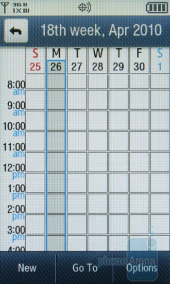 Appointment calendar - Samsung Reality U820 Review