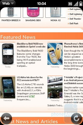 Surfing the web with the Palm Pre Plus - Palm Pre Plus for AT&T Review