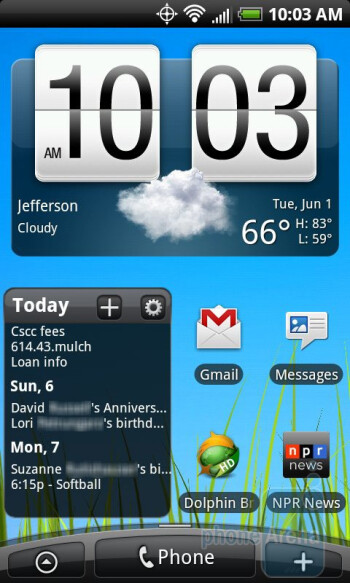 The interface of the HTC EVO 4G - HTC EVO 4G Review