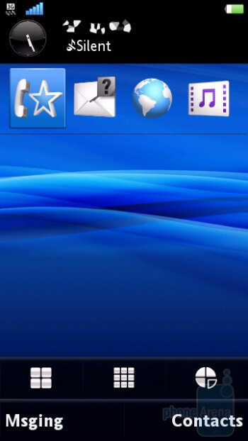 The homescreens of the Sony Ericsson Vivaz pro - Sony Ericsson Vivaz pro Review