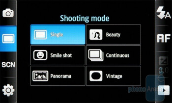 The camera interface of Samsung Wave S8500 - Samsung Wave S8500 Review