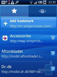 The browser of Sony Ericsson Xperia X10 mini - Sony Ericsson Xperia X10 mini Review