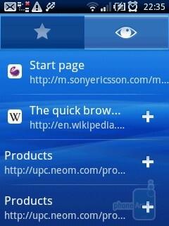 The browser of Sony Ericsson Xperia X10 mini - Sony Ericsson Xperia X10 mini Review