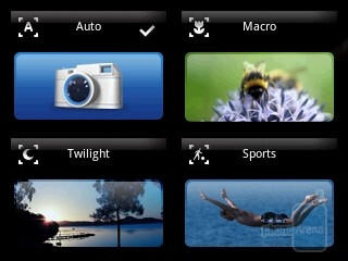 The camera interface is nicely personalized, but sports almost no options - Sony Ericsson Xperia X10 mini Review